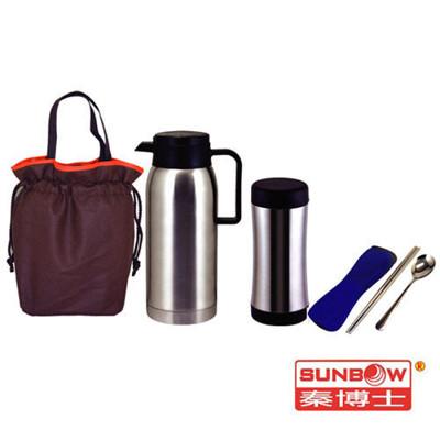 秦博士 高真空保溫瓶+保溫杯+餐具包+提袋 SYD100A+SPL350+SC582N+BA2711 (5.9折)