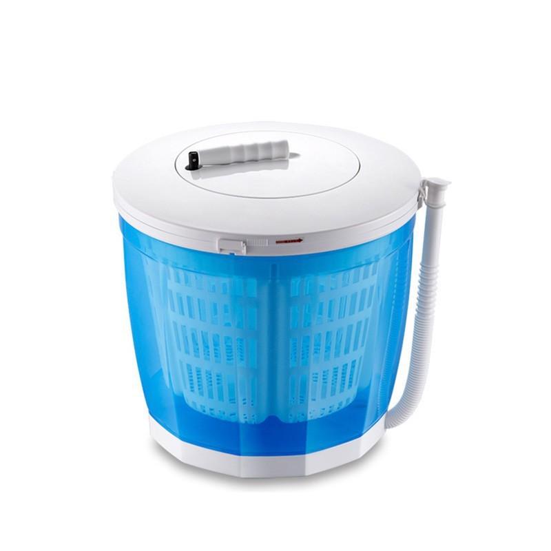 手搖洗衣機 迷你小型脫水機 甩乾器 洗脫兩用半自動洗衣機 - 藍色