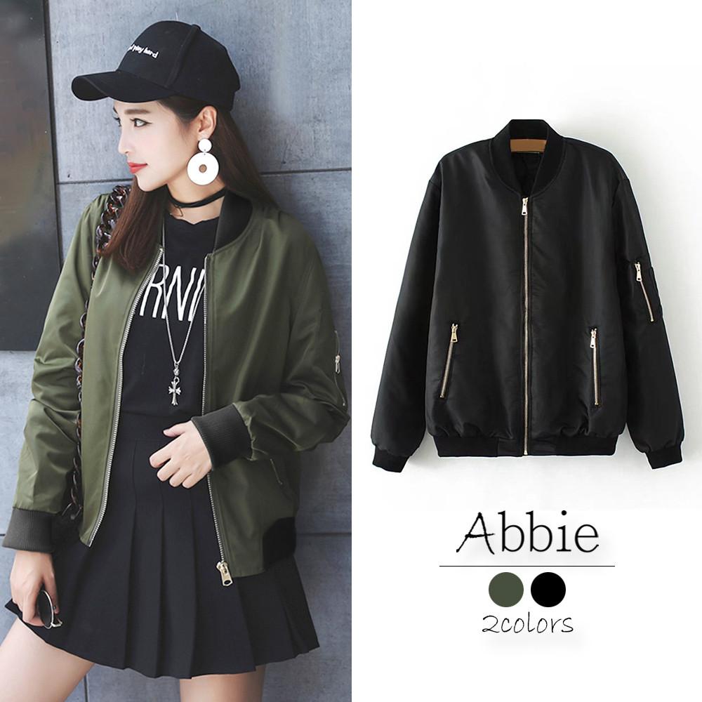 abbie韓版寬鬆顯瘦拉鍊外套