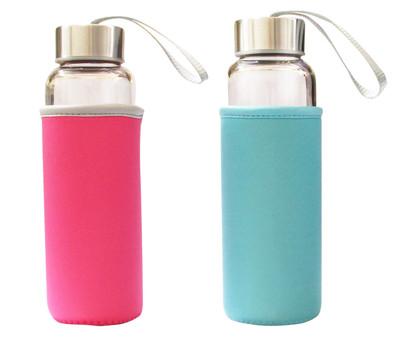 水瓶 水壺 杯子 玻璃隨身瓶 耐熱附贈潛水布套 (6.3折)