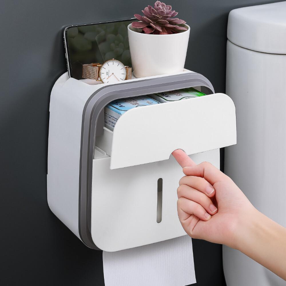 限時出清特價新款簡約設計抽取式雙層紙巾衛生紙盒 免打孔透明視窗通用型隨機色出貨