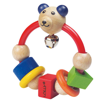 【優生】 LOLLY木製玩具-微笑熊搖鈴 -寶寶互動玩具/手搖鈴/木質玩具 DG80003 (9.8折)