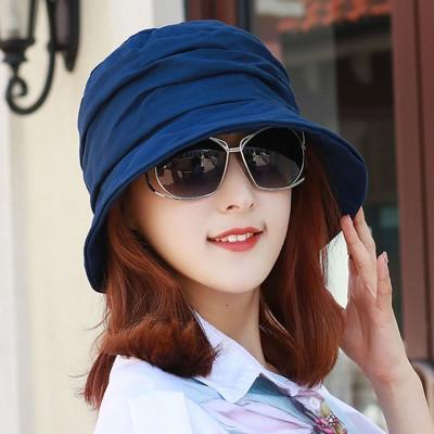 女帽子夏天薄款純色漁夫盆帽遮陽媽媽貝雷畫家帽顯臉小百搭時裝帽 (8折)