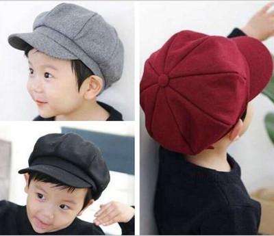 韓國秋冬新款兒童遮陽帽子 男女寶寶八角鴨舌帽 羊毛呢小孩貝雷帽 (6.7折)
