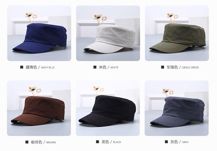 春夏新款平頂帽女韓版潮明星同款光板平頂海軍帽情侶帽子文藝帽