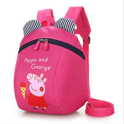 卡通佩佩豬防走失包 兒童背包 防走失繩幼兒寶寶書包背包 (6折)