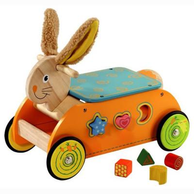 台灣【Mentari木頭玩具】兔兔益智滑步車 (8折)