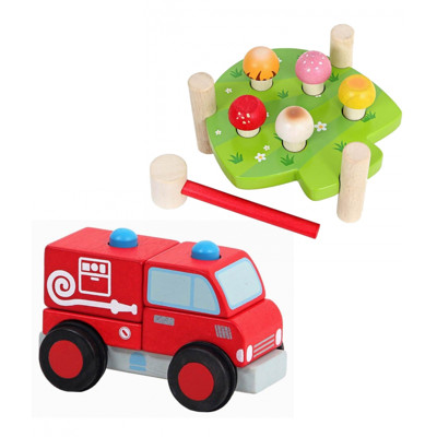 Mentari 蘑莉菇敲打檯+立體積木消防車 (8折)