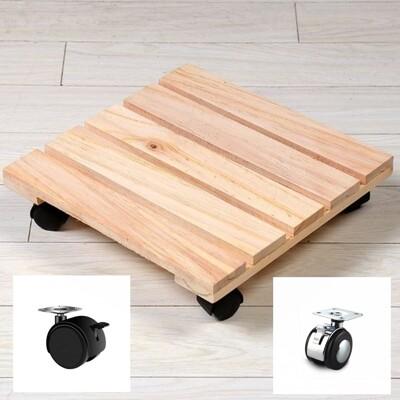 塑膠四輪腳無煞車 方形木板可移動花托 置物架 可移動帶輪托盤 客廳室內盆景 多肉花盆底座