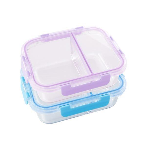 美國 winox安玻分隔玻璃保鮮盒長形2格860ml(2色可選)