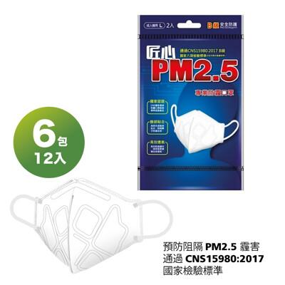 【卜公家族】【匠心】PM2.5專業3D立體防霾口罩(黑色)-2入/包 X6-免運 (6.8折)