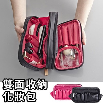 化妝包-韓國新款防水尼龍大容量多夾層雙面雙色方形化妝包 收納包 手拿包 an shop (9.3折)