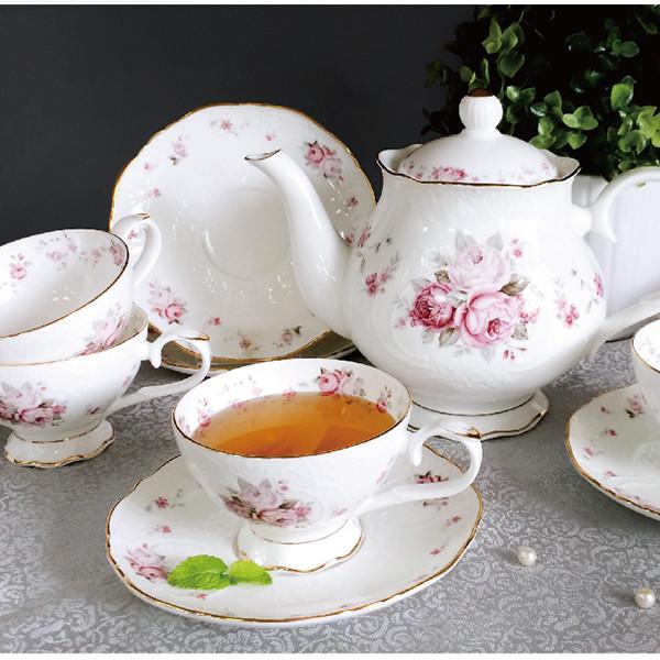 r&d皇家公爵浮雕玫瑰一壺五杯碟組/下午茶組/骨瓷