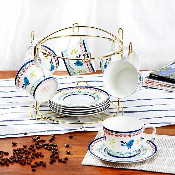 童話奇緣咖啡杯/花茶杯(6杯6碟組)-附杯架