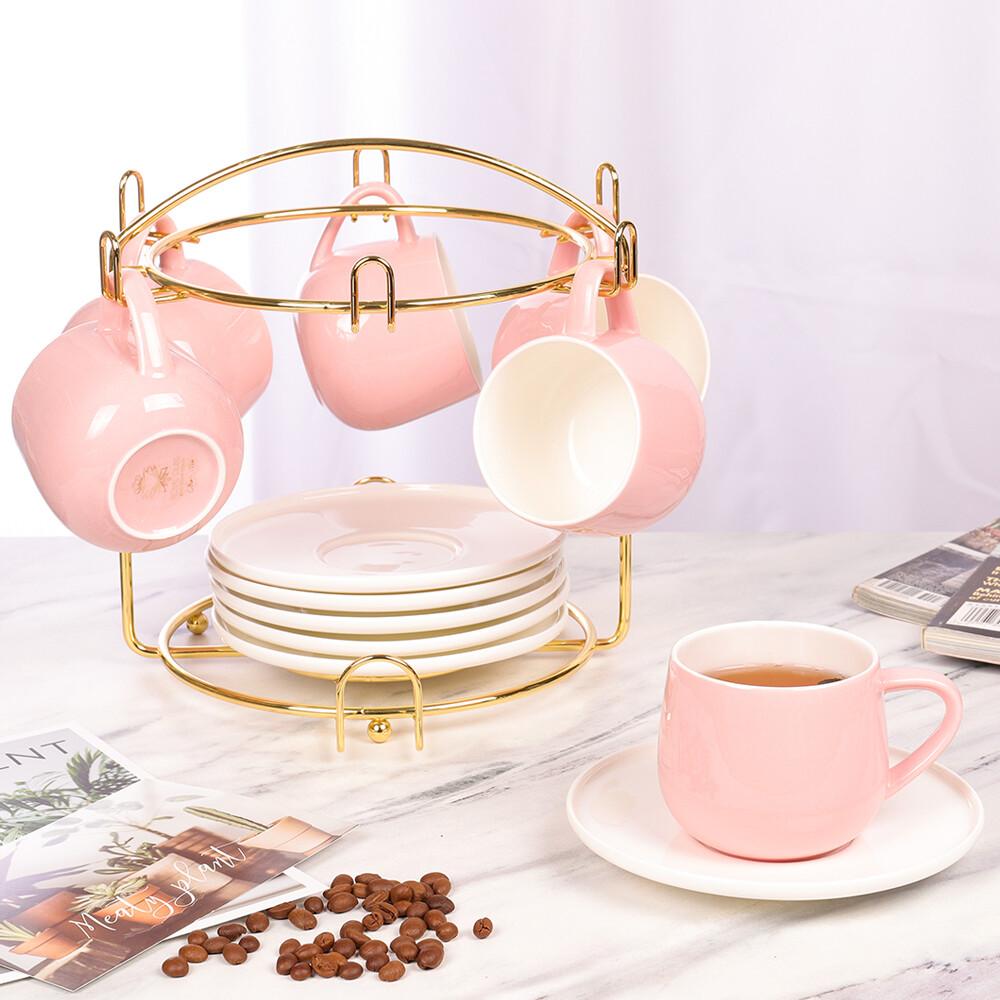 淳淨(粉)咖啡杯/花茶杯(6杯6碟組) - 附杯架