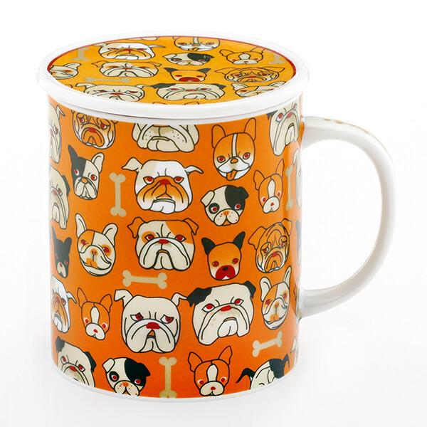 趣味附蓋馬克杯 - 小鬥牛犬蓋杯 (橘)