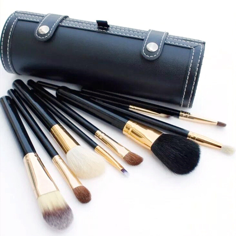 九件組黑色便攜鏡筒化妝刷筆套裝彩妝套組m1934alex shop