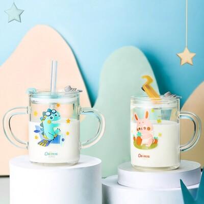 兒童帶刻度可微波吸管式牛奶杯250ML(單耳)M0997 (6折)