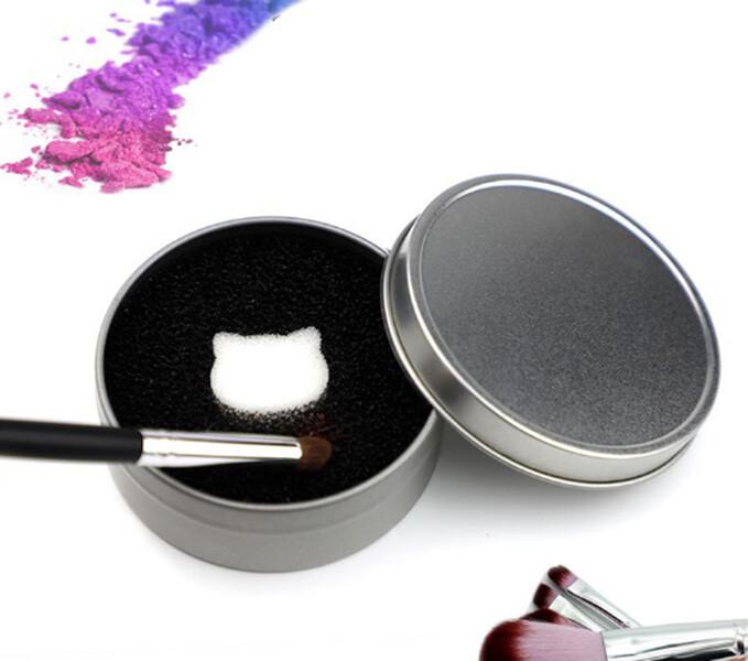 銀色貓咪化妝刷快速清潔盒海棉乾洗盒(1組3盒)m1912alex shop