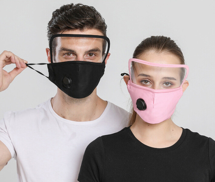 成人一體式排氣閥款可水洗飛沫隔離保護防護透明護目防塵口罩(1組2件)m2599alex shop
