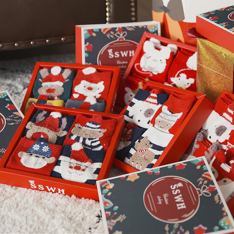 聖誕饗宴可愛立體卡通聖誕襪四雙裝禮盒(大人款)m1494alex shop