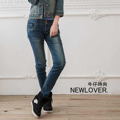 窄管牛仔褲激瘦【166-6732】兩釦纖長美腿窄管牛仔褲NEWLOVER牛仔時尚S-XL (5.6折)