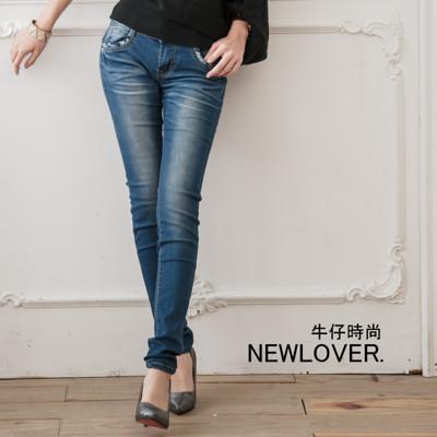 激瘦窄管牛仔褲【166-6730】韓版格紋口袋窄管牛仔褲NEWLOVER牛仔時尚S-XL (5.9折)
