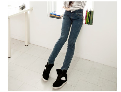 窄管牛仔褲NEWLOVER牛仔時尚【166-6703】韓版造型荷葉邊鬆緊褲頭小刮痕激瘦S-L (3.6折)