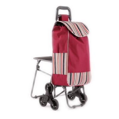 【DF195】爬樓梯折疊購物車(附椅款)可爬梯附設坐椅休息菜籃車360度手推車行動椅子買菜車 (8.6折)