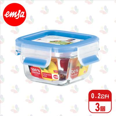 德國進口 EMSA 愛慕莎 玻璃 保鮮盒 515988 0.2L/3入/6入/組 (2.2折)