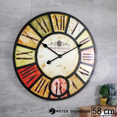 法式 紅酒 標籤 大型 時鐘 LOFT 復古流行 工業風 歐式 風格 木質立體靜音掛鐘-米鹿家居 (6.2折)