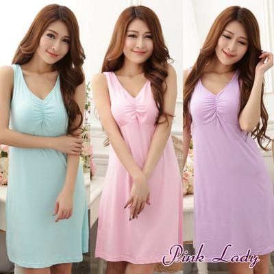 PinkLady免穿內衣牛奶絲混紡 柔爽透氣BraT洋裝睡衣168(紫/水綠/粉) (3.9折)