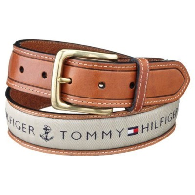 【Tommy Hilfig】2012男時尚織帶鑲嵌棕色皮帶 (5.5折)