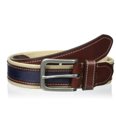 【Tommy Hilfiger】男時尚織帶皮革寶藍棕色皮帶 (5.1折)