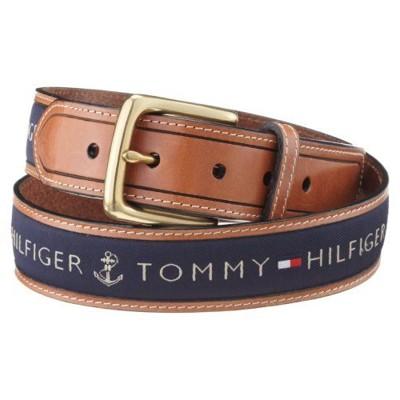【Tommy Hilfig】2012男品味織帶鑲嵌棕色皮帶 (5.7折)