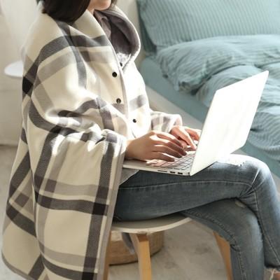 多功能內刷毛發熱蓋毯 法蘭絨蓋毯 旅行毯 135*80cm (2.9折)