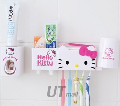 【UTmall】♡新款Hello Kitty♡ 多用途(5用)牙刷架+牙刷座+牙膏夾+擠牙膏器+漱口 (4.8折)