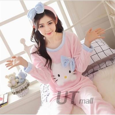 【現貨~熱銷款】秋冬季Kitty貓加厚珊瑚絨睡衣可愛卡通女士法蘭絨長袖家居服套裝 (3.9折)