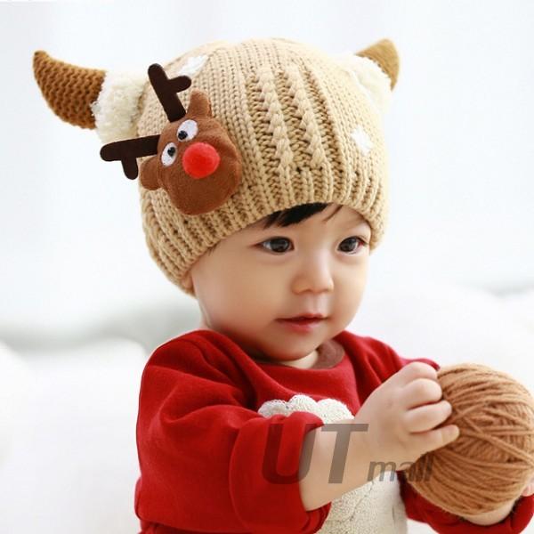 【免運~超可愛聖誕帽】聖誕帽子神鹿加絨針織保暖帽冬季兒童帽子