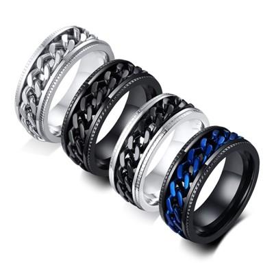 《316小舖》c572(優質白鋼戒指-藍色鍊條白鋼戒指/鈦鋼戒子/白戒/銀戒/黑戒/藍戒/男戒可轉動