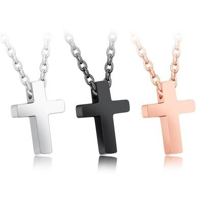 316小舖f83(316l鈦鋼項鍊-聖者玫瑰金十字架項鍊-單件價 /精鋼十字架項鍊/鋼十字架項鍊 (10折)
