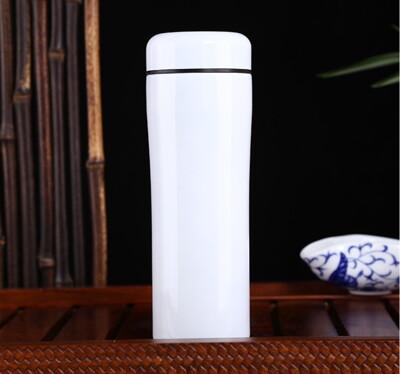 白色陶瓷保溫杯 -骨瓷- 健康環保養生 -- 陶瓷內膽 (5.2折)