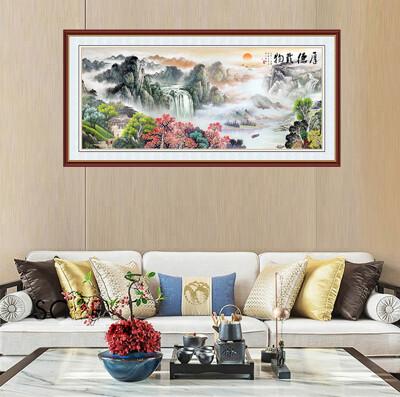 《厚德載物》含虛擬框  防水自黏無痕壁貼 風水山水畫LA-FGO-S-07  (50100) (3.3折)