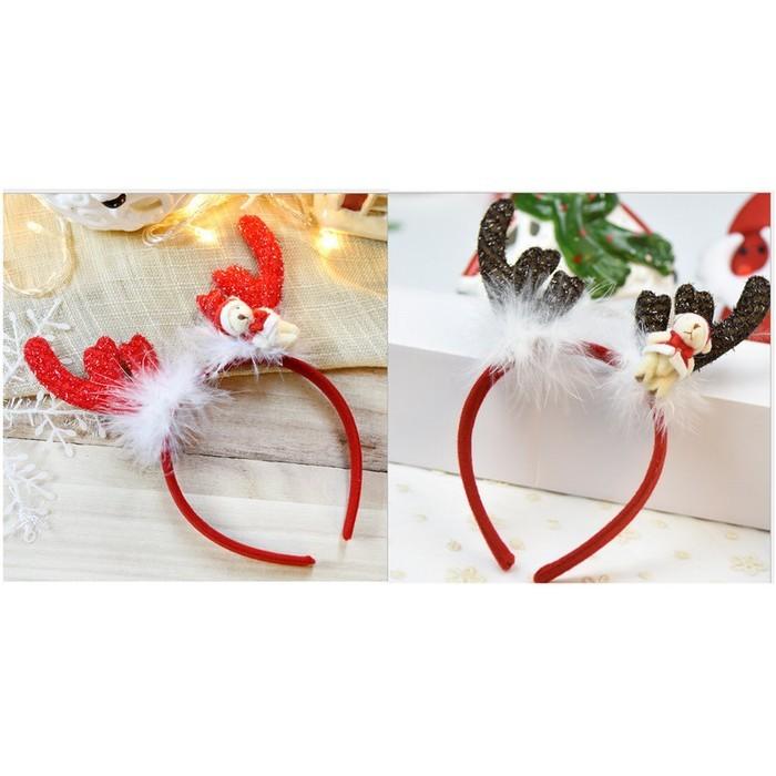 派對達人聖誕節服裝配件/聖誕節髮箍/聖誕帽/聖誕髮箍/可愛小熊聖誕髮箍
