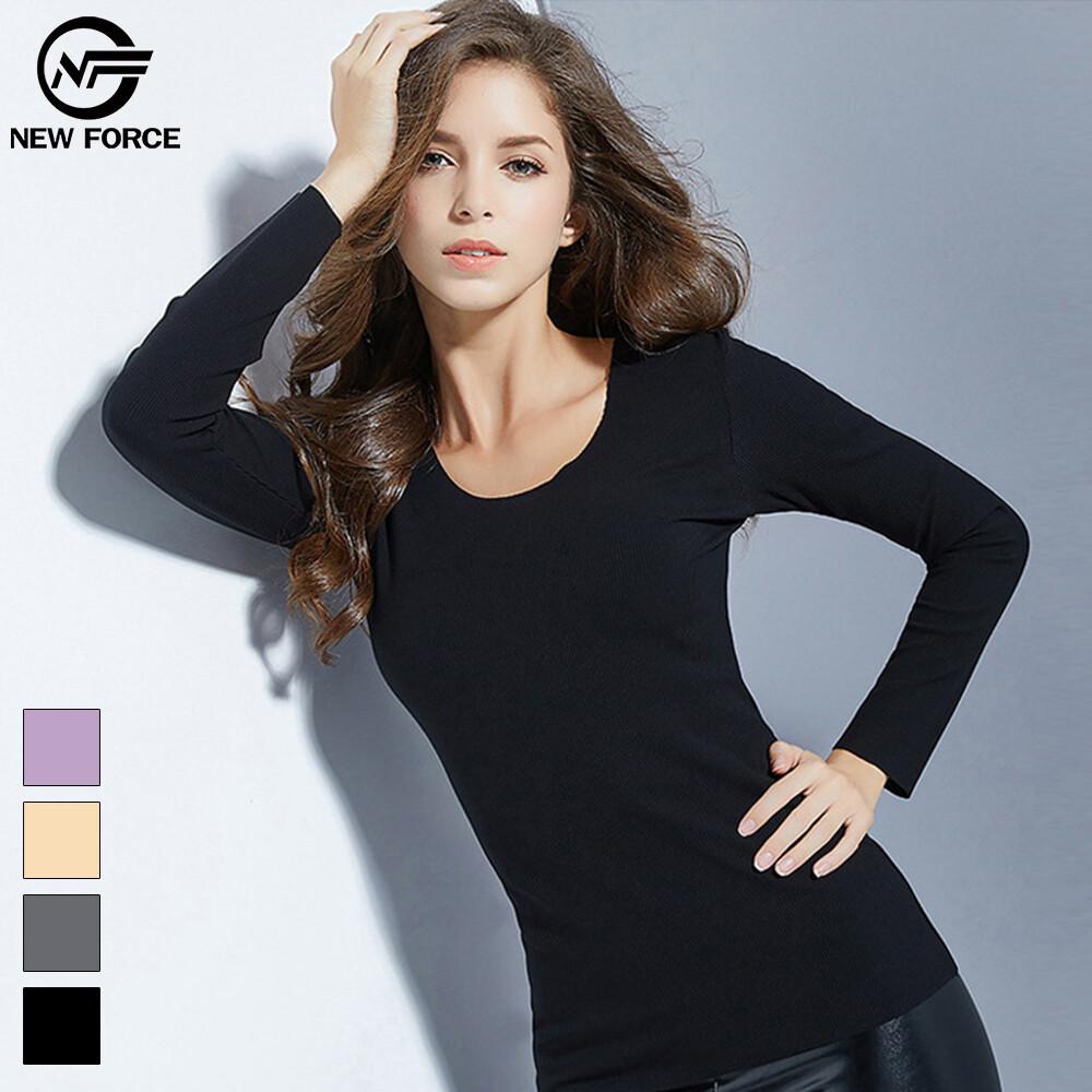 圓領舒適彈力輕暖衣-4色可選