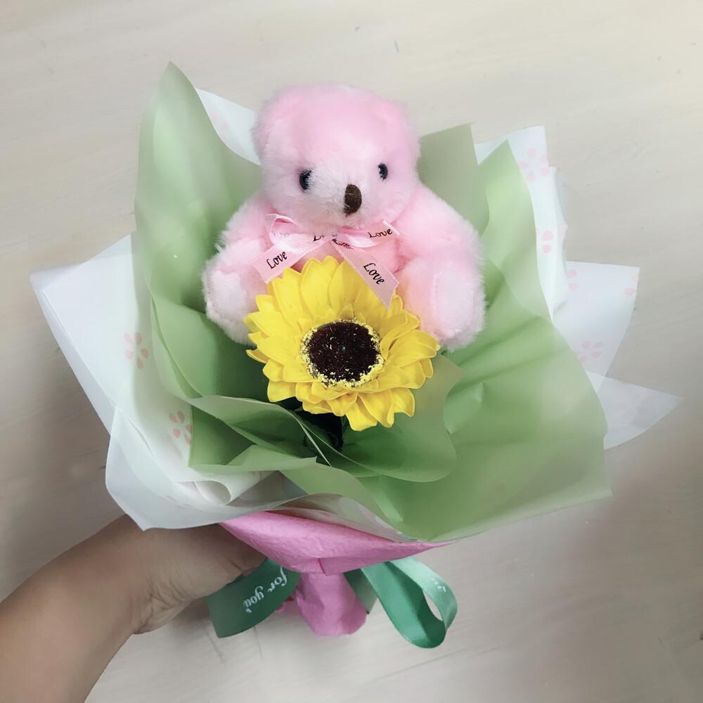 幸福禮物小熊向日葵玫瑰香皂圓形多層次花束/畢業熊向日葵金莎花束求零食花束