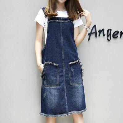 【9017】大尺碼寬鬆顯瘦毛邊牛仔吊帶裙 背心裙(M-5XL) (4.3折)