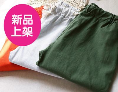 韓版鬆緊腰細帶棉麻休閒長褲(均碼) (5.8折)
