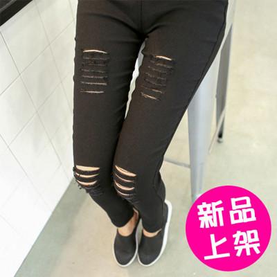 修身顯瘦彈力梭織破洞內搭褲鉛筆褲小腳褲 (S/M/L) (7.3折)