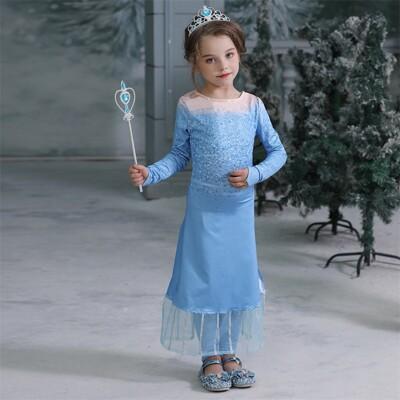現貨 【送皇冠+手杖】洋裝+褲子冰雪奇緣 艾莎公主 安娜公主 愛紗公主 兒童禮服 (3.6折)